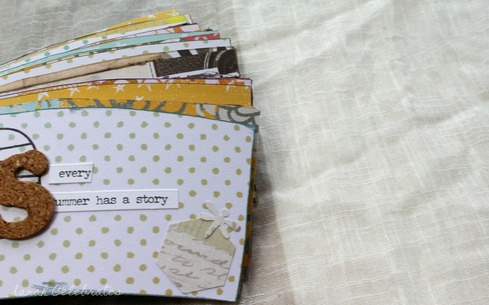 Mini Summer Memory Book, coffee sleeve upcycle