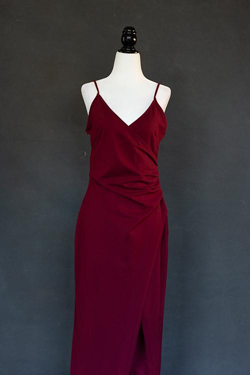 Deep red burgundy dress