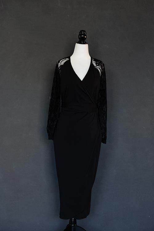 Black Lacy Wrap Dress