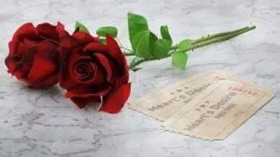 Two red roses next to two ticket that read Heart's Desire, free pass. Gratitude is a free pass to your heart's desire.
