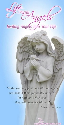 Statue of Angel holding a rose with the blog title Life with Angels: Inviting Angels Into Your Life.