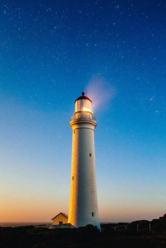Lighthouse at dusk. Intentions give you clear direction.