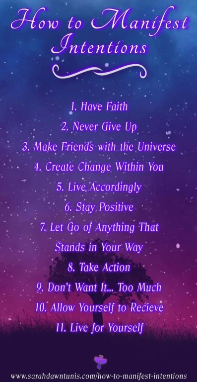 The 11 steps for how to manifest intentions by sarahdawn tunis.