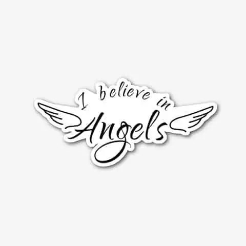 I Believe in Angels Die-cut sticker available the angel merch store