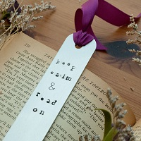 Keep Calm and Read On Metal-Stamped Bookmark
