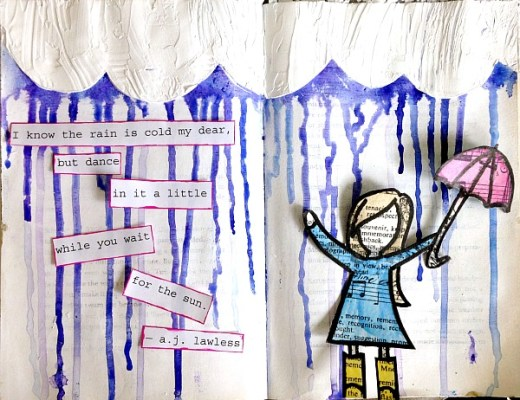 Raining Art Journal Page