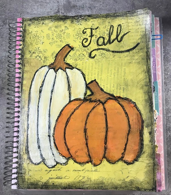 Fall Pumpkins Mixed-Media Art Journal Page