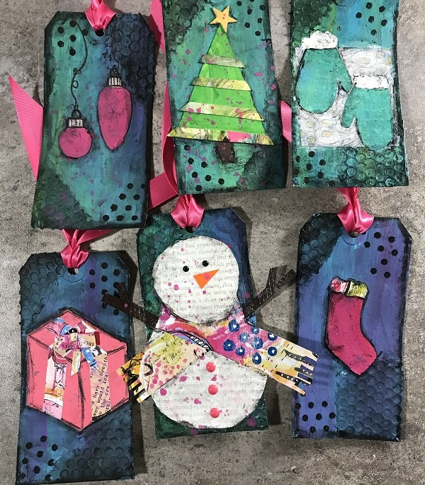 Mixed-Media Christmas Tags