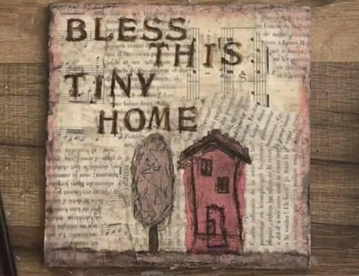 Bless This Tiny House DIY Mixed-Media Canvas