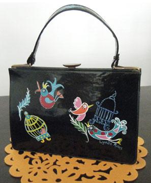 Vintage Patent Leather Purse Hand-Painted by Lynnda Rako