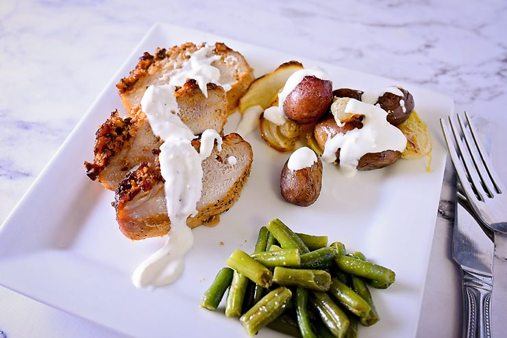 Roasted Pork and Potatoes with a Creamy Aioli Sauce