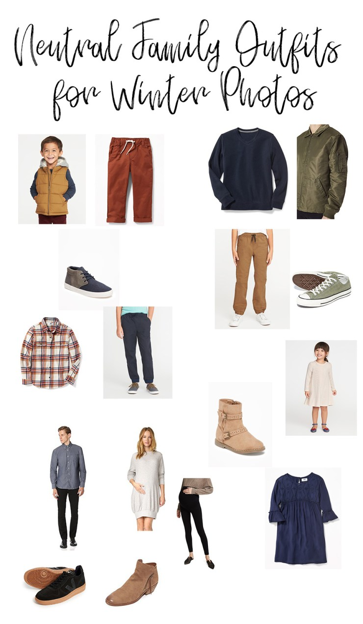Neutral Family Outfits for Winter Photos