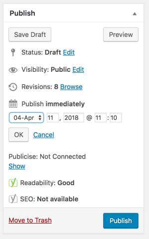 Publish immediately or schedule to publish in the future