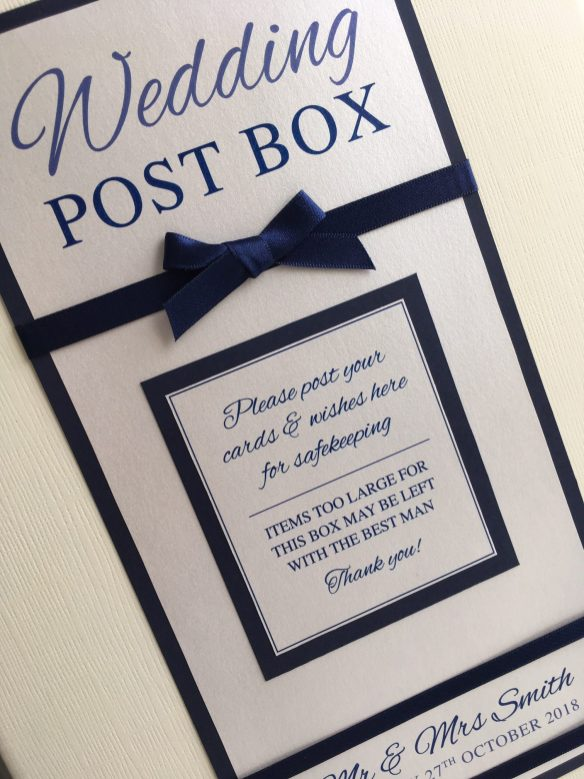 Satin post box in navy
