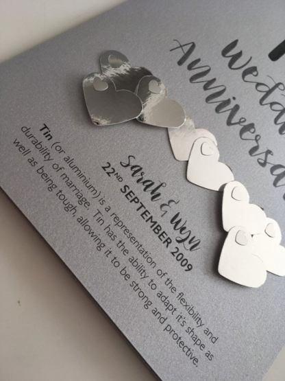 metallic card hearts for 'tin' anniversary
