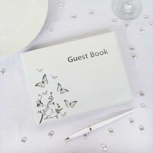 silver butterfly guest book