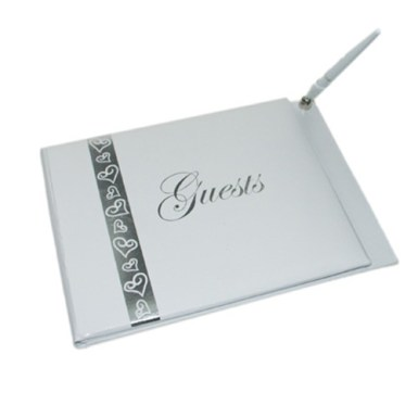 guestbook with pen - silver