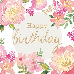 Pink Floral Birthday Card design