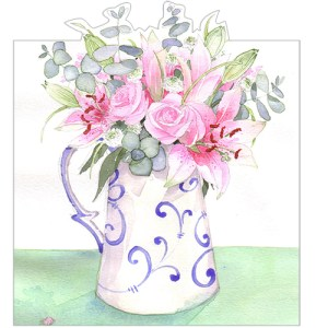 Jug of Flowers Card Design