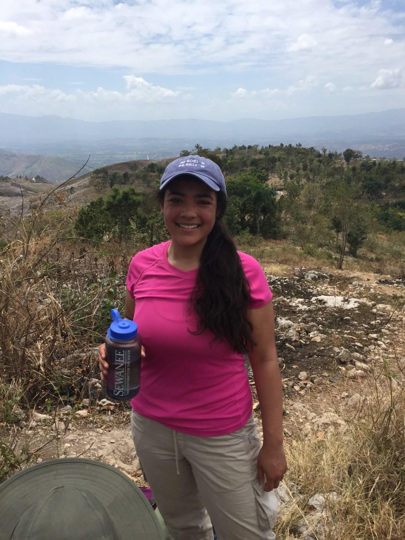 girl with mountains in background near Bois Jolis, Haiti