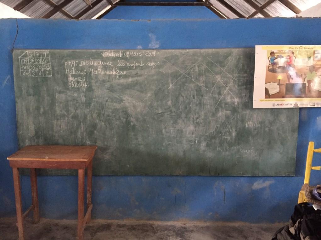 chalkboard in classroom in Bois Jolis, Haiti