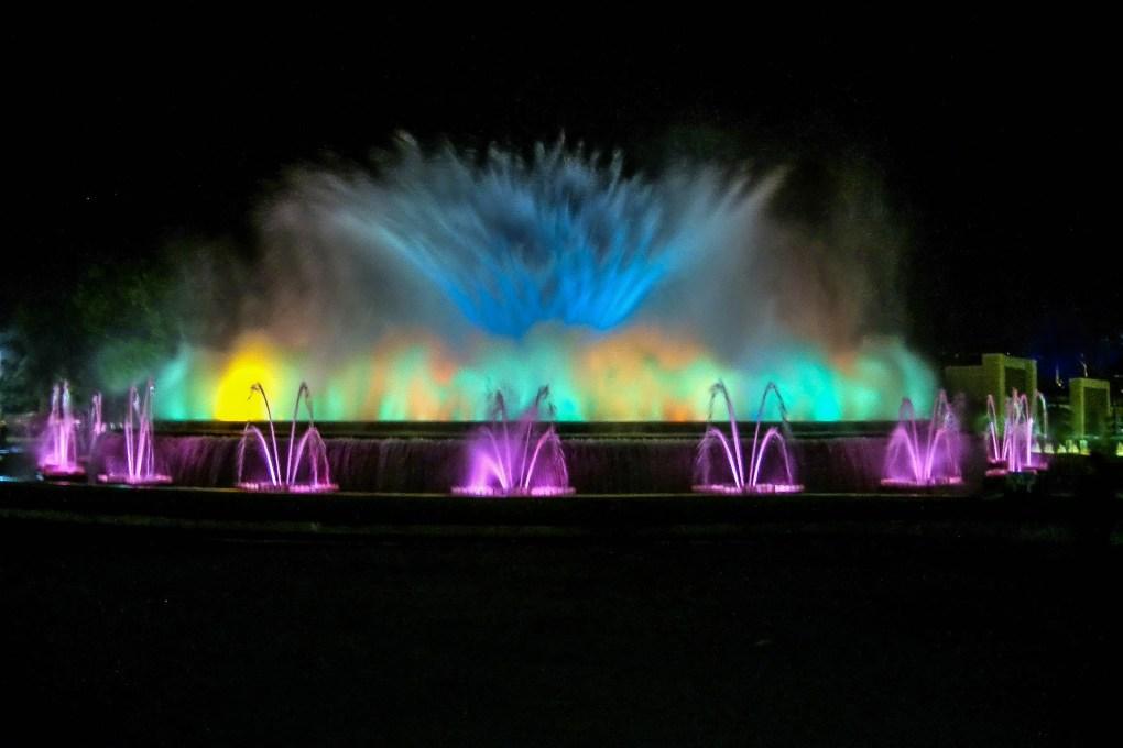 Barcelona magic fountain with lights