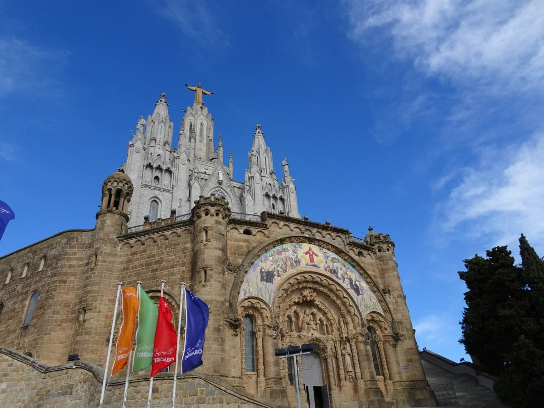 Tibidabo cathedral with blue skies