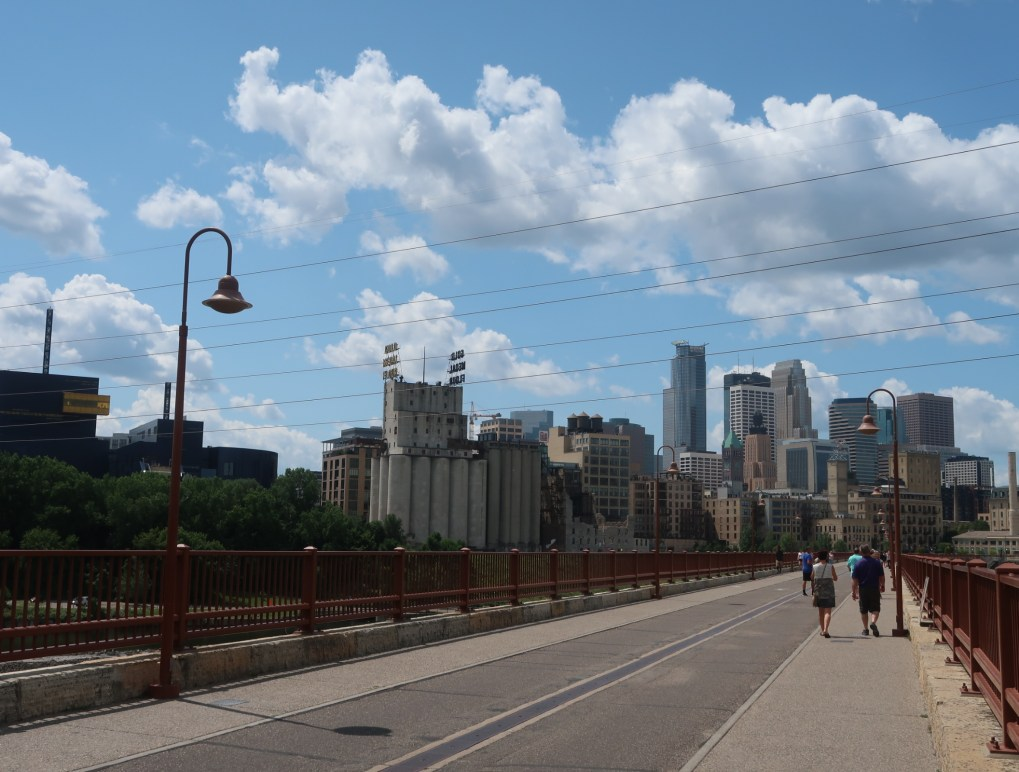 view of downtown Minneapolis from Stone Arch Bridge