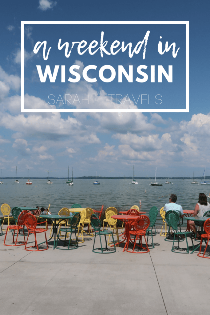 """lake with sailboats and """"A Weekend in Wisconsin"""" written on the photo"""