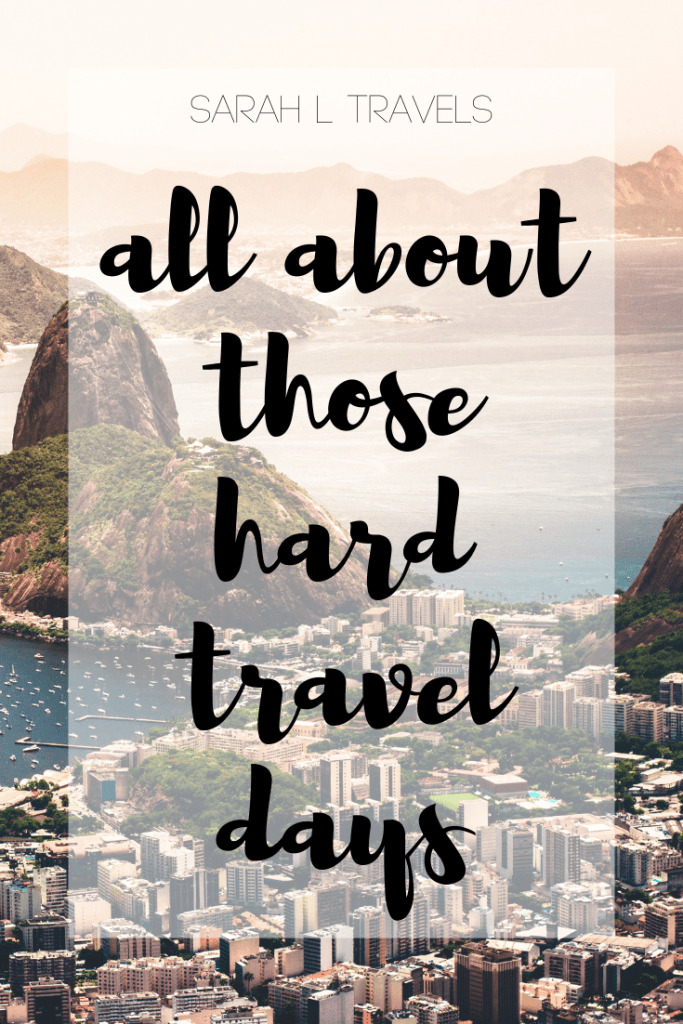 "city, mountains, and beach with text: ""all about those hard travel days"""