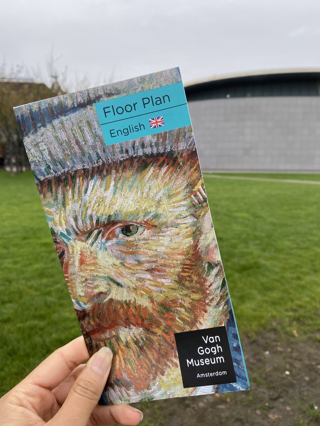 Van Gogh Museum pamphlet with museum building in background