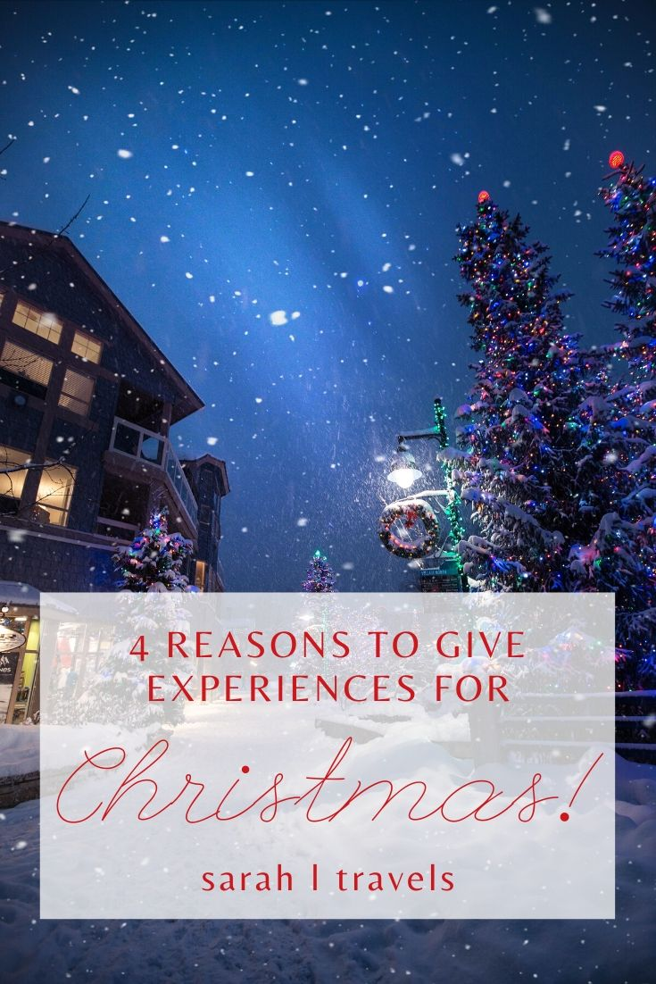 """Christmas tree and chalet in background with text """"4 reasons to give experiences for Christmas"""""""