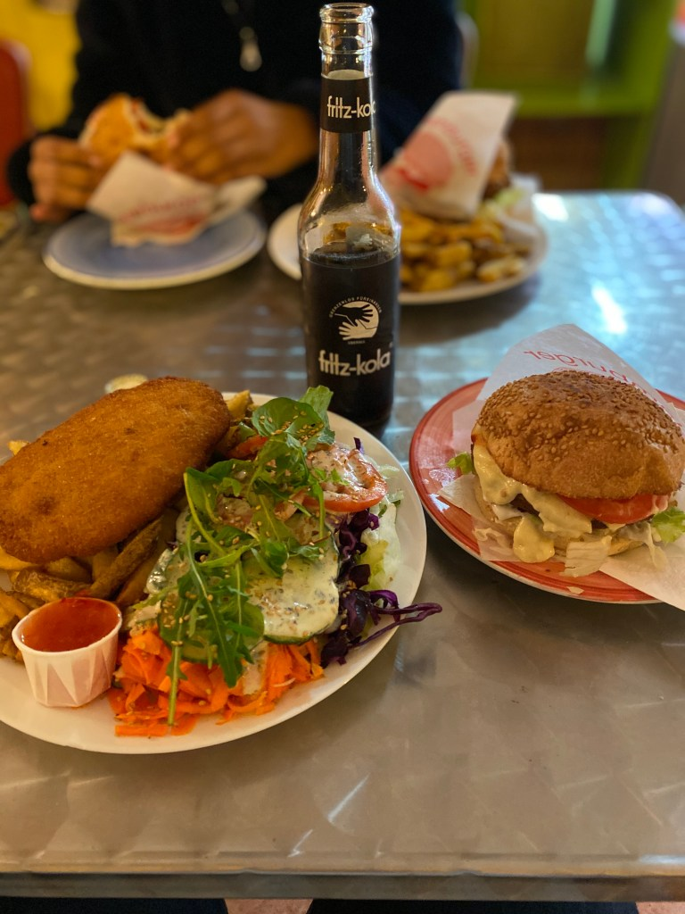 Veggie burger, vegan schnitzel, and a Fritz-Kola from Yoyo Foodworld, Berlin