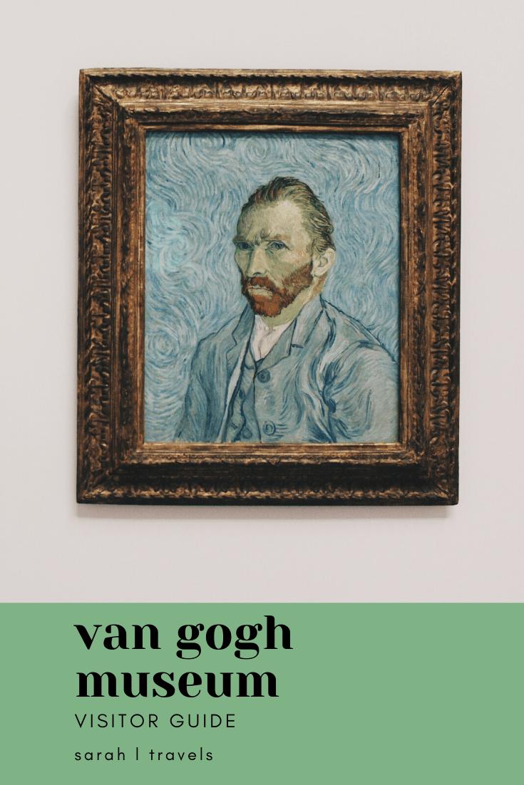 "Van Gogh Amsterdam: painting of Van Gogh with text ""Van Gogh Museum Visitor Guide"""