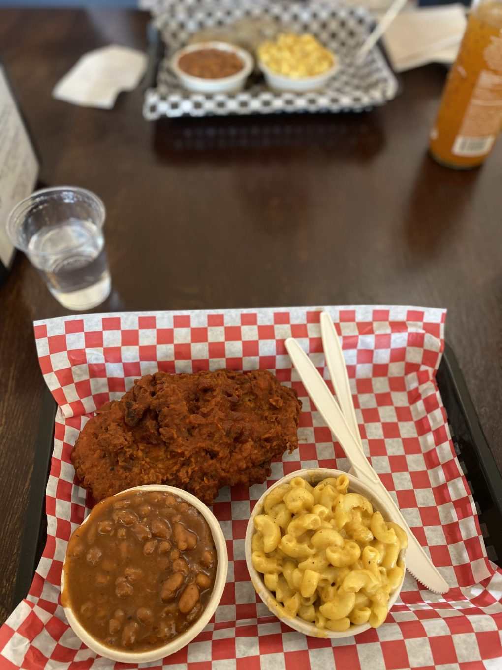 Nashville Hot Chick'n from The Southern V, with baked beans and mac 'n cheese