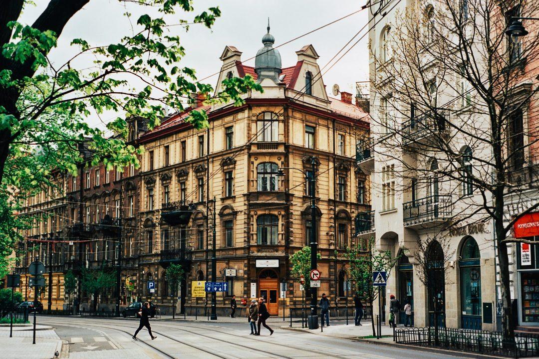 view of a street in Kraków, Poland