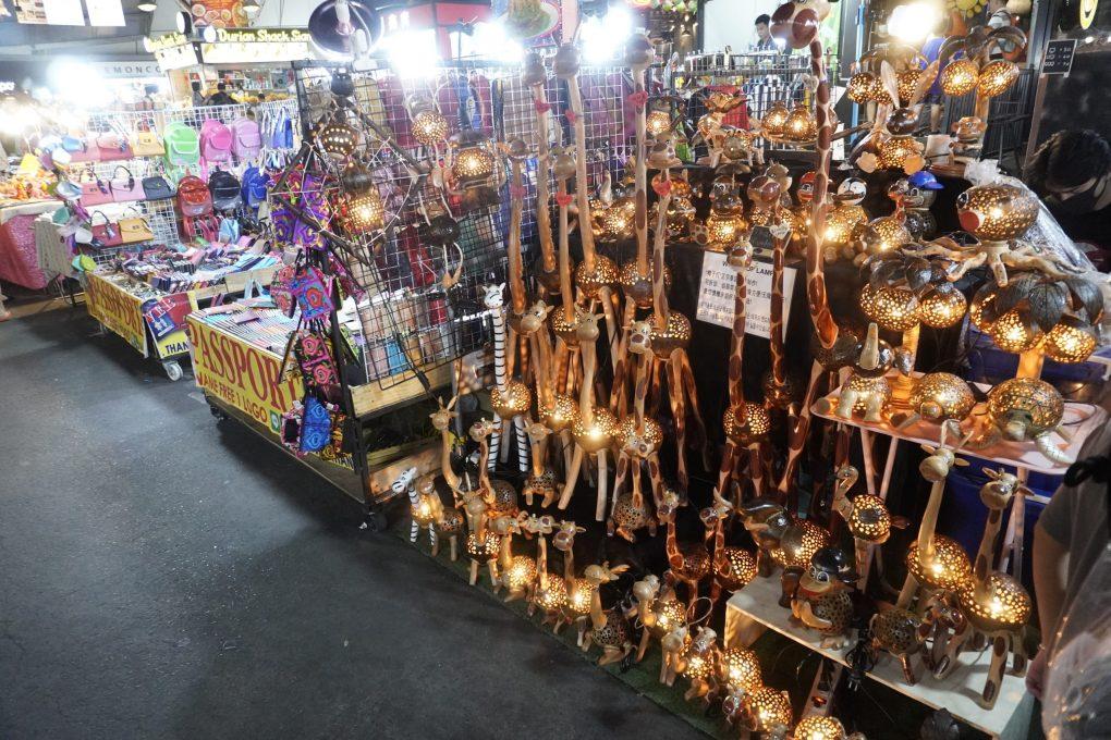 metal lanterns shaped like giraffes in the Ratchada train night market, Bangkok