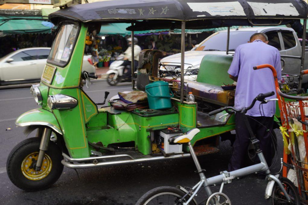 green tuk tuk in Bangkok