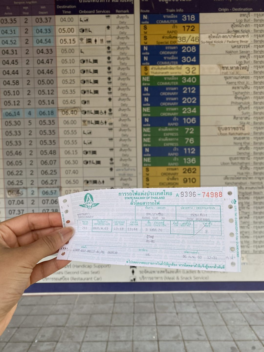 train ticket for the State Railway of Thailand, taken in Bangkok's Bang Sue station