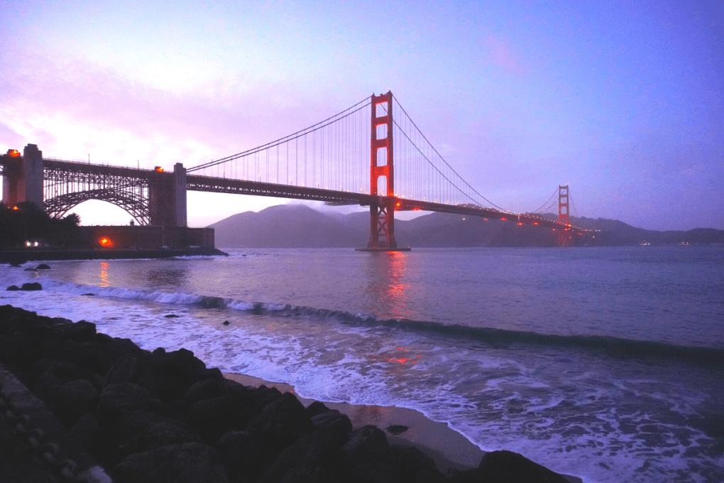 Golden Gate Bridge at dusk, San Francisco