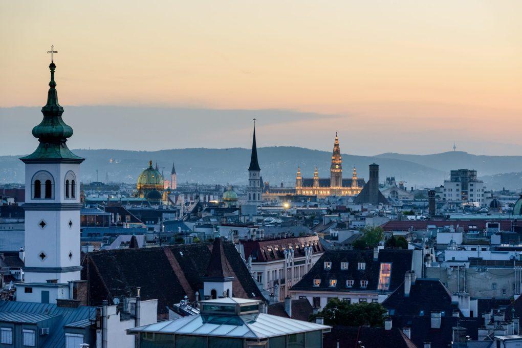Vienna, Austria at dusk