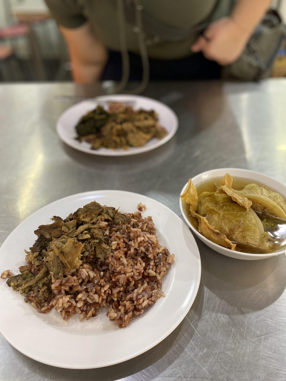 rice, mock meat, veggies, and cabbage soup from Khun Aeo Vegetarian restaurant at Huai Kwang Market, Bangkok, Thailand