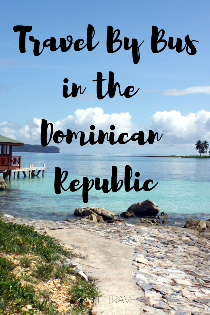"""coast with ocean background and text """"Travel by Bus in the Dominican Republic"""""""