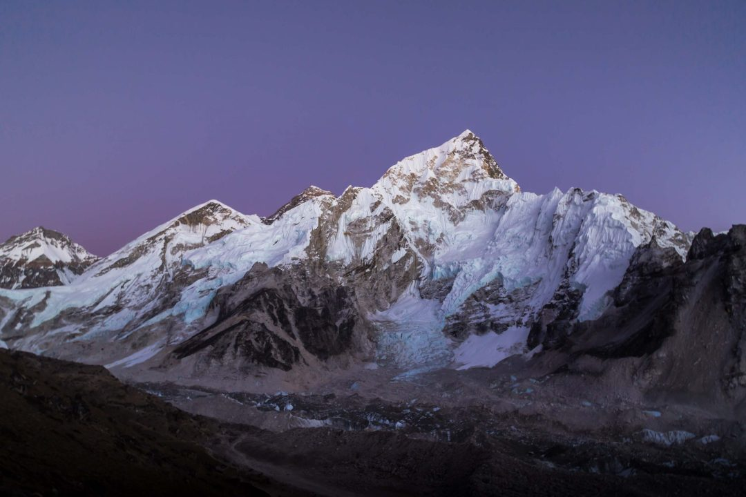 Mountains in the Himilayas with a purple sky
