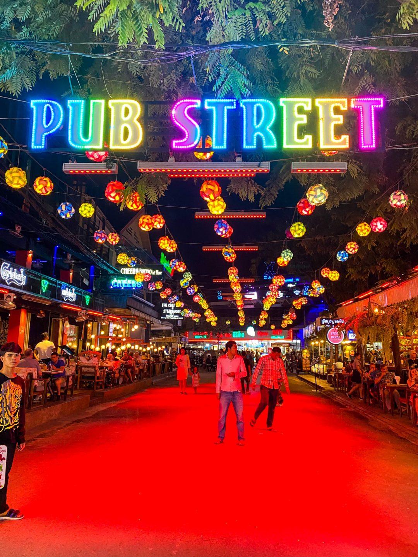Pub Street neon sign in Siem Reap, Cambodia