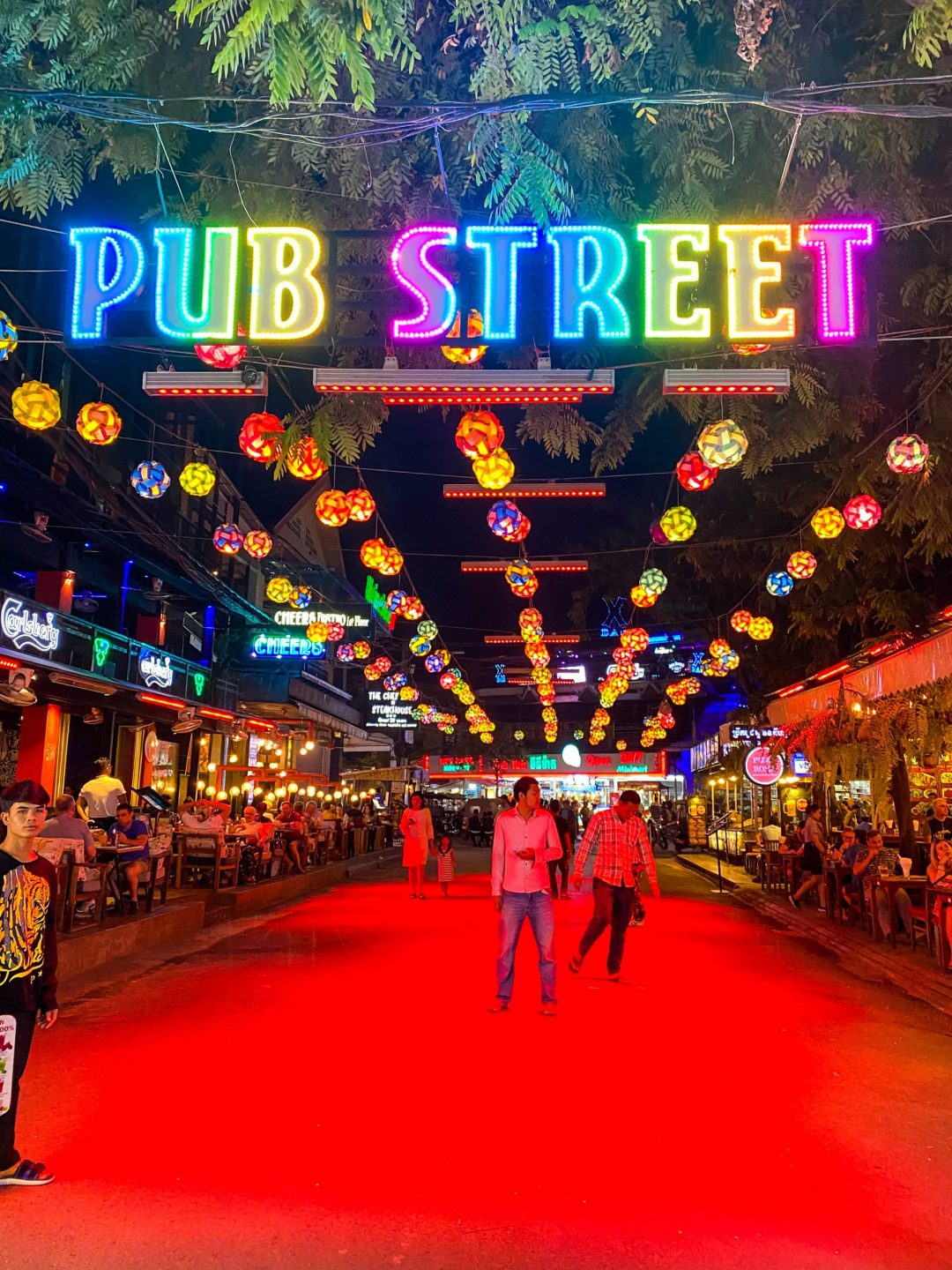Pub Street neon sign in Siem Reap, Cambodia