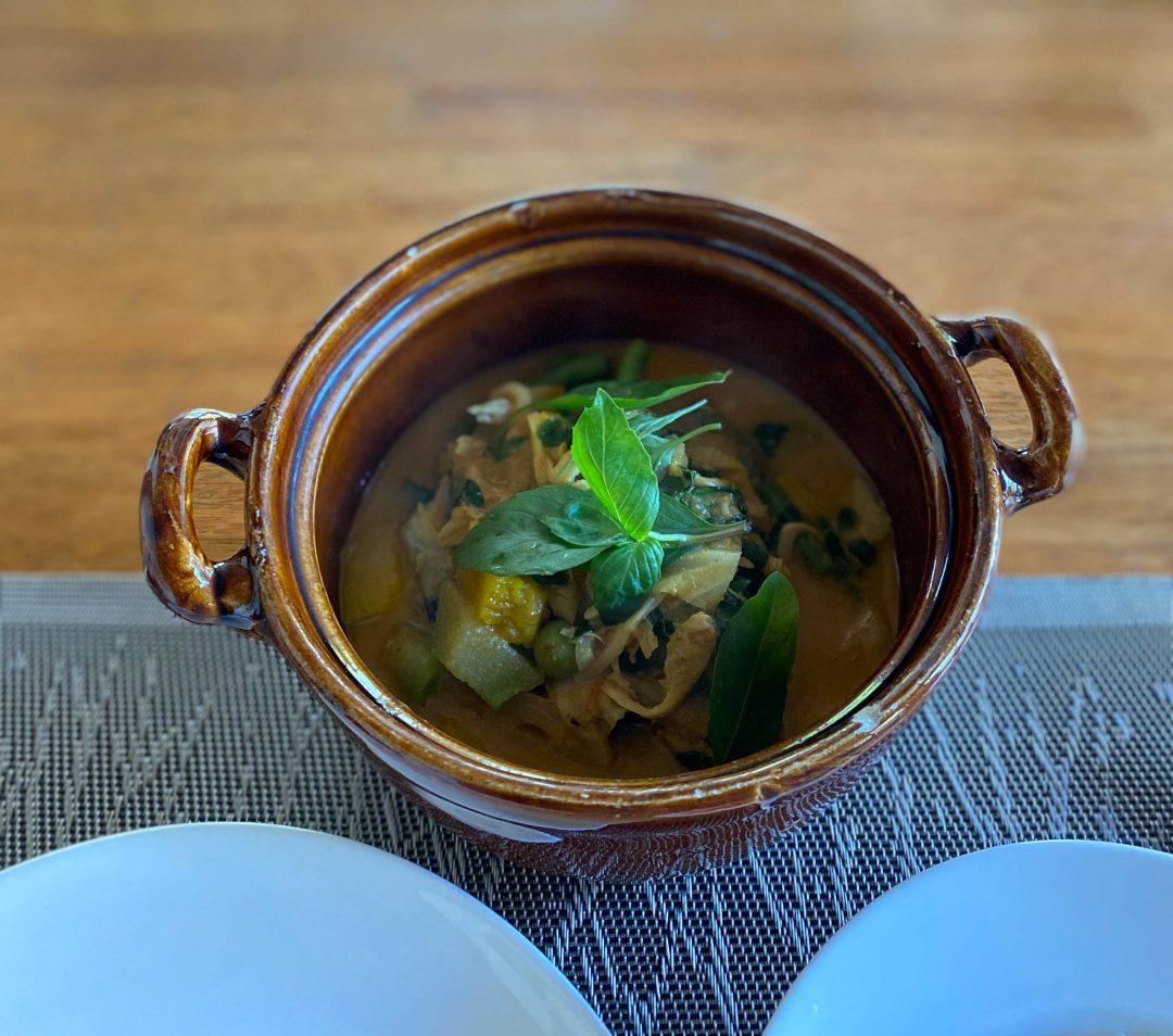Cambodian traditional vegan amok from Banlle Vegetarian in Siem Reap, Cambodia