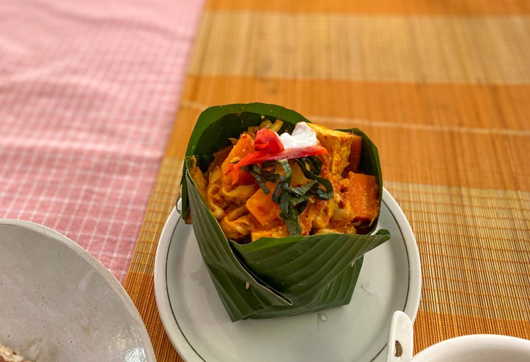 Cambodian traditional vegan amok in a banana leaf from Mahob Buos, Siem Reap, Cambodia