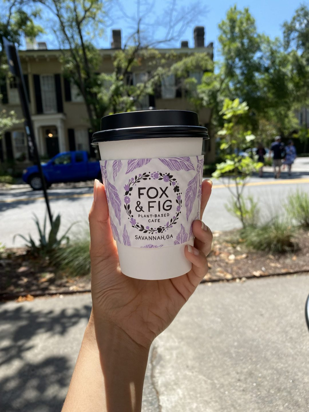 White coffee cup with Fox and Fig Savannah written on it
