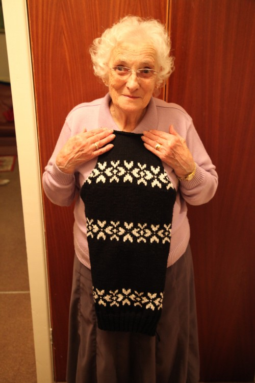 Beryl modelling the back of the jumper